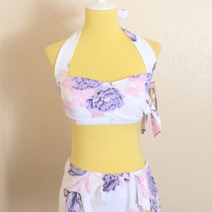 Bettie Page Swimsuit Sz 6 New Two Piece Floral